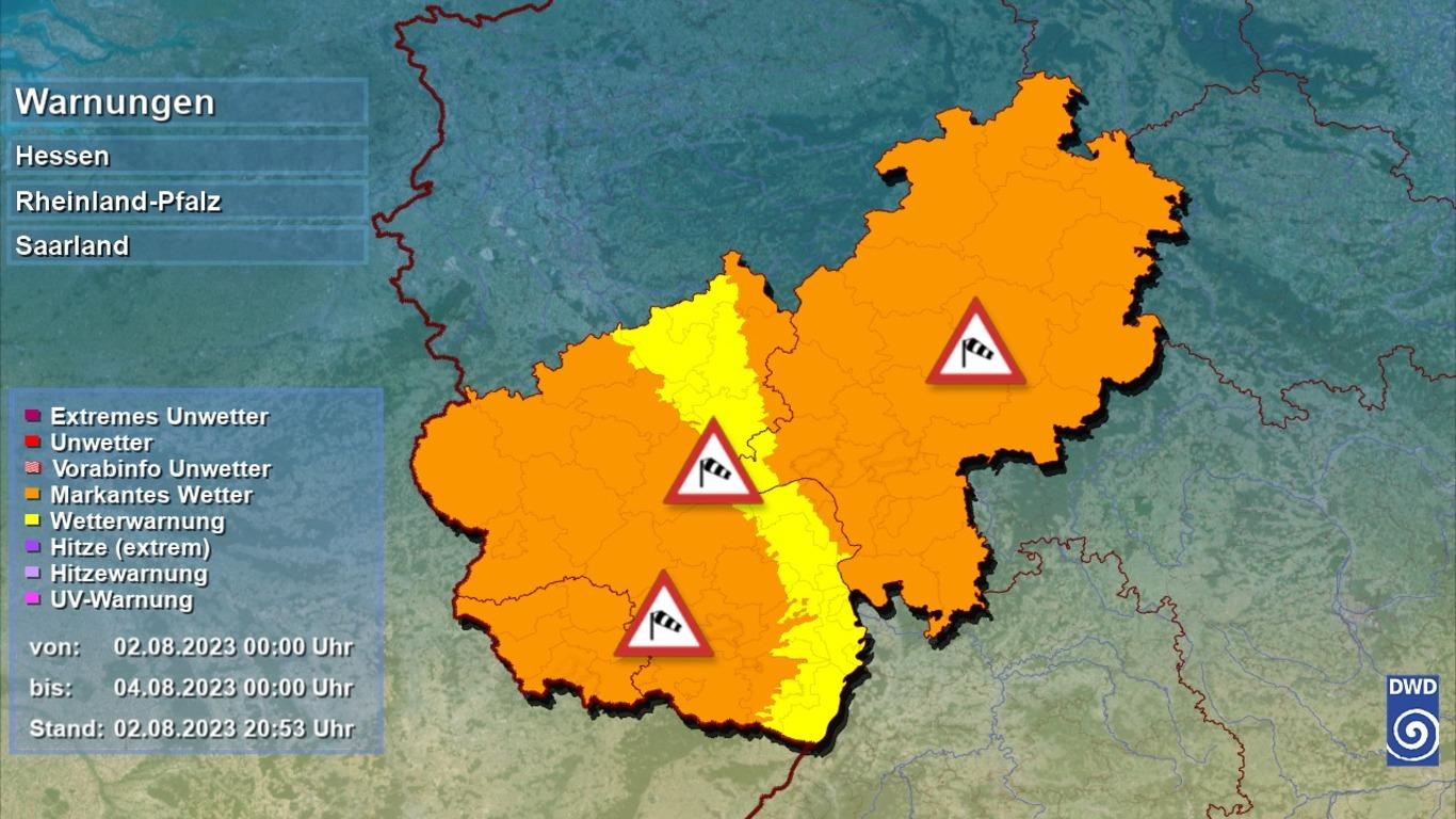 Unwetterwarnungen in Hessen