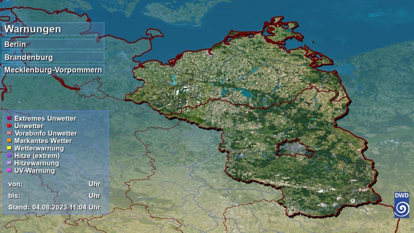 Unwetterwarnungen des DWD Bereich Brandenburg