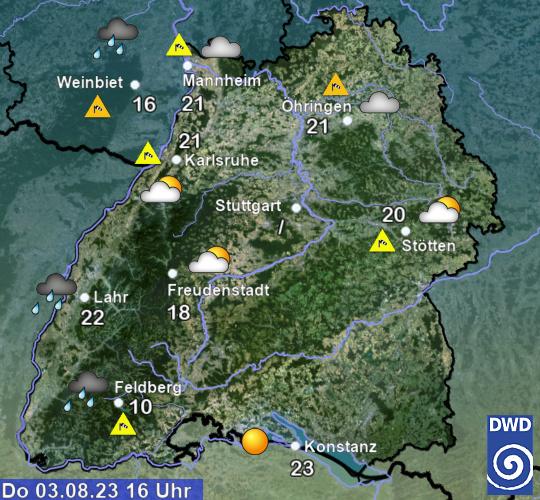 Aktuelles Wetter und aktuelle Temperaturen in Baden-Württemberg
