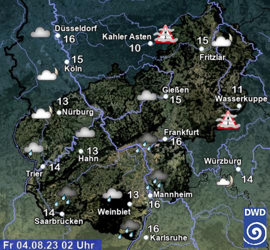 Aktuelles Wetter und aktuelle Temperaturen in Hessen