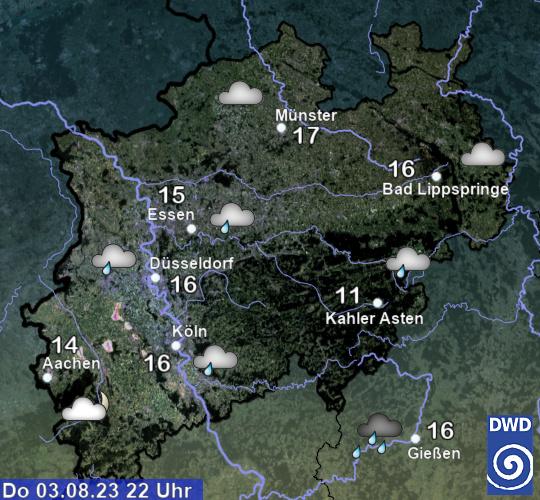 aktuelles Wetter und aktuelle Temperatur in Deutschland