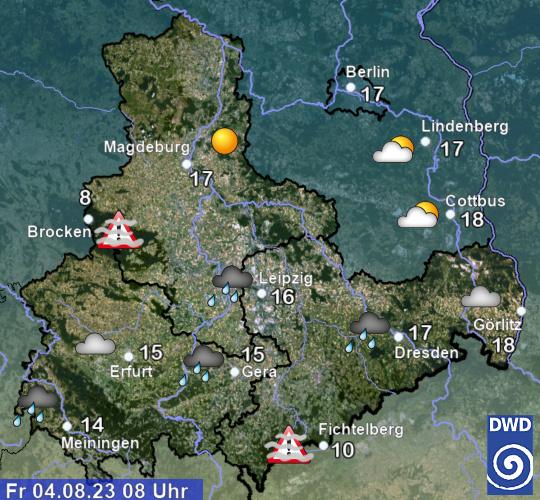 Wetter Sachsen-Anhalt, Thüringen und Sachsen