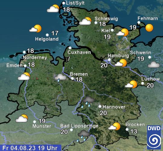 Aktuelles Wetter und aktuelle Temperaturen in Schleswig-Holstein + Hamburg