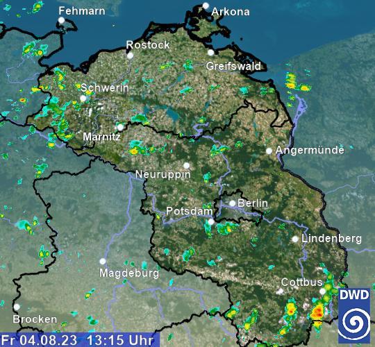 aktuelles Radarbild Region Nordost (C) DWD