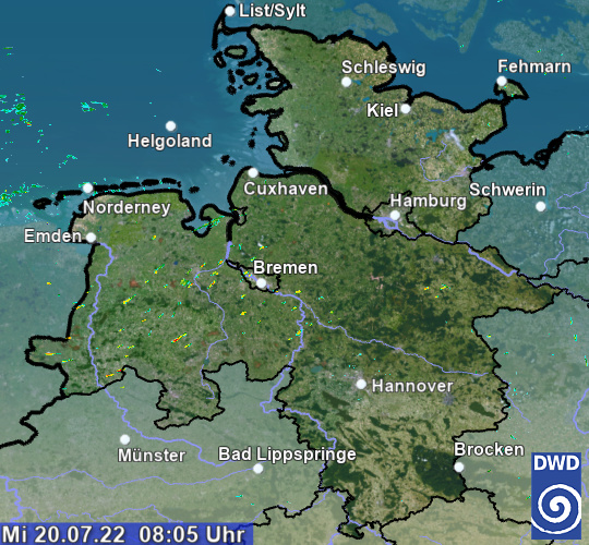 Radarbild Schleswig-Holstein und Hamburg