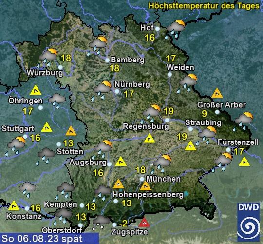 Wettervorhersage Bayern - morgen