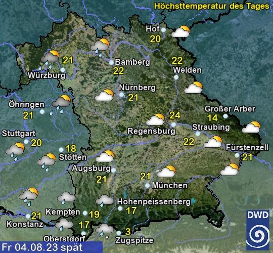 Wettervorhersage für Morgen in Bayern