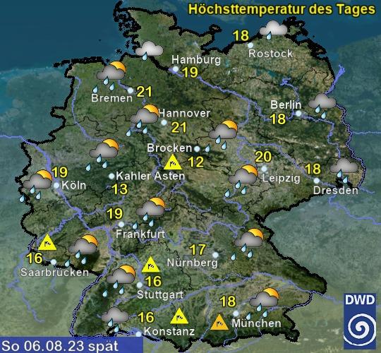 Wettervorhersage Deutschland - morgen