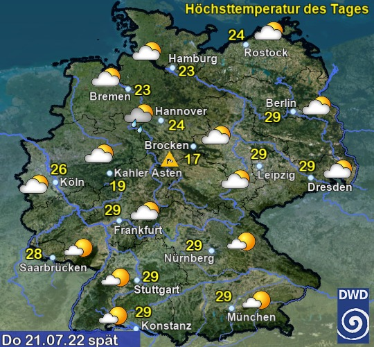 Vorhersage (C) Deutscher Wetterdienst, Offenbach