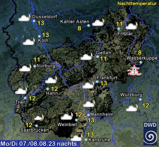 Wettervorhersage für den Bereich Hessen von heute Nacht.