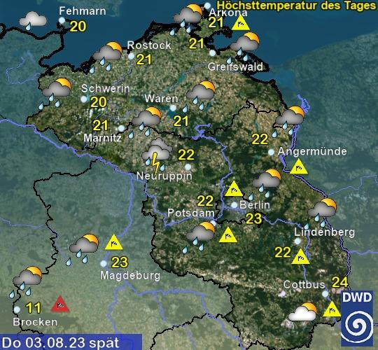 Wetter morgen Abend in Mecklenburg-Vorpommern