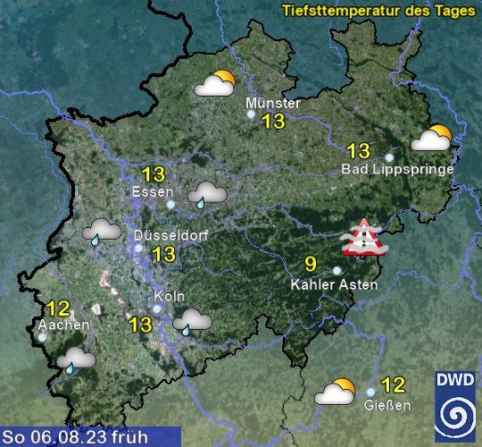 Vorhersagekarte für NRW für morgen früh