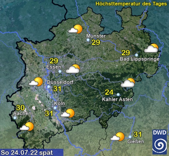 Vorhersage für morgen für NRW