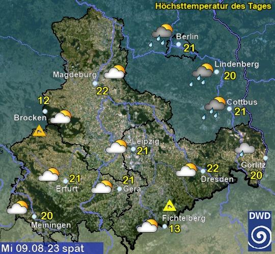 Vorhersage für den 4. Tag mit Höchsttemperatur und Wetter für Region Ost
