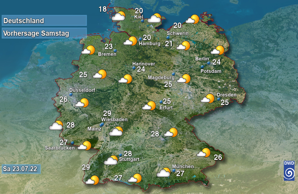 Vorhersage für morgen spät mit Tiefsttemperatur und Wetter