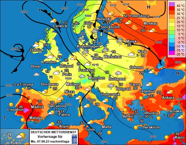Bodenwetterkarte Europa