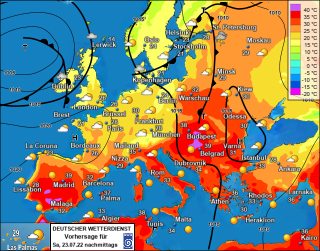 Europa Morgen bij meteotines