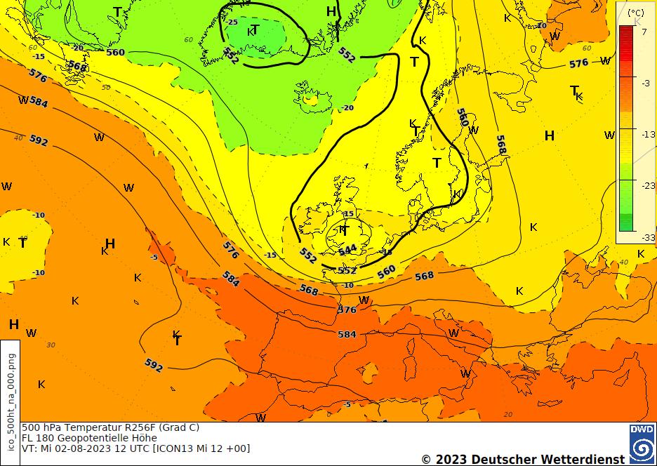 Höhenprognosekarte H+24, 500 hPa Höhe/Temperatur Europa