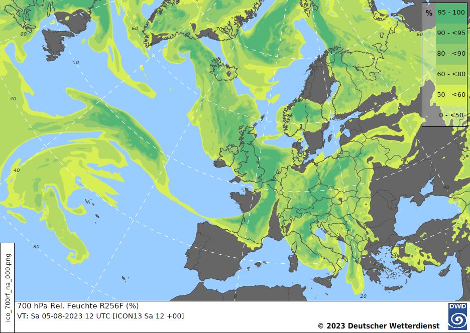 Analysekarte zur relativen Feuchte (700 hPa)