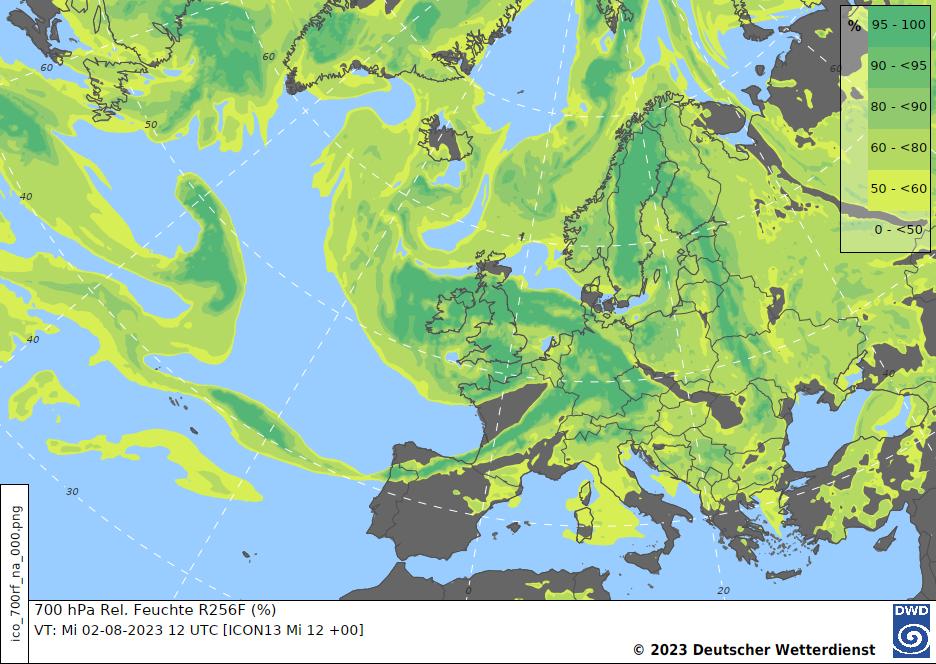 Höhenprognosekarte H+24, 700 hPa Relative Feuchte Europa