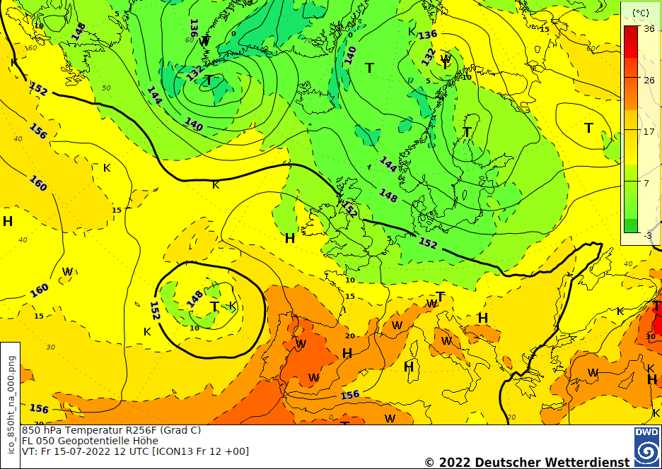 Höhenprognosekarte H+24, 850 hPa Temperatur Europa