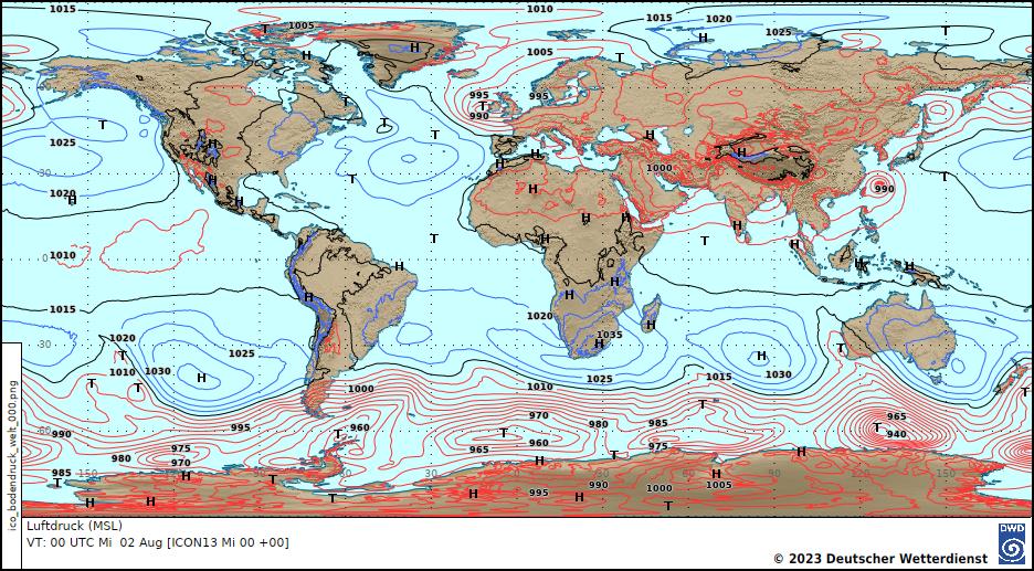 Prognosekarte Bodenluftdruck © DWD