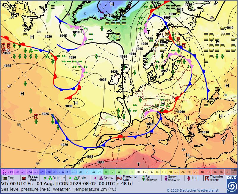 DWD Prognosekarte 00 UTC und 12 UTC plus 48 Stunden, Bodenluftdruck Europa