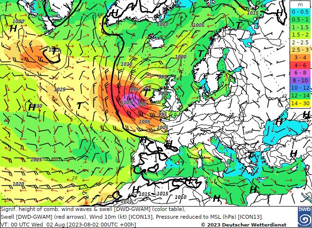 Wind und Seegangs-Vorhersagekarte für Europa des Deutschen Wetterdienstes