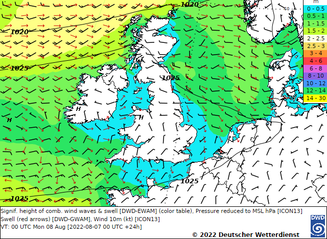 Map of predicted significant wave height from the Celtic Sea to the North Sea